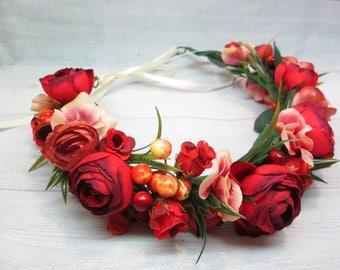 Red wedding crown Floral hair piece Burgundy wedding Crown rustic wedding Burgundy crown Flower bride wreath Burgundy hair flower Crown comb