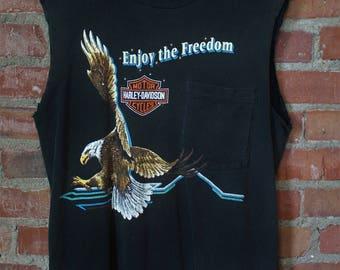 "Vintage Harley Davidson ""Enjoy The Freedom"" Cut Off Pocket Tee Medium"