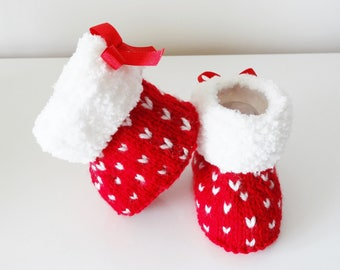Red and white stuffed baby 0/3 months / Santa boots / holidays