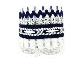 Cuff Bracelet Navy Blue and white with Rhinestones - Large bracelet - hand