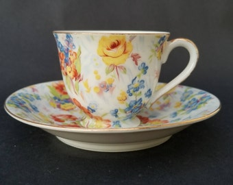 Vintage 1945 to 1952 Demitasse Cup, Merit China, Demitasse Cup Made in Occupied Japan, Hand Painted, Lavish Floral Design