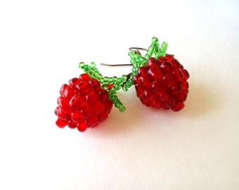 Raspberry earrings, Berry earrings, juicy raspberry earrings, red dangle earrings, gift for women, beaded raspberry, beaded fruit earrings