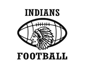 Indians Football high school college SVG File Cutting, DXF, EPS design, cutting files for Silhouette Studio and Cricut Design space