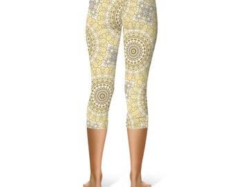 Capri Hippie Pants - Mandala Pattern Tribal Leggings, Mustard Yellow and White Funky Leggings, Creative Clothing