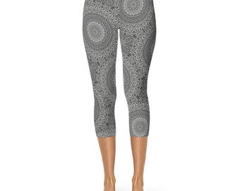 Leggings Capri Gray Yoga Pants for Women - Mandala Patterned Capris in Gray and Black