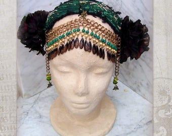 Tribal Fusion Headdress, Green Belly Dance Costume Headdress, Bronze Flowers Headband, Tribal Headdress, Festival Headpiece, Boho Headband