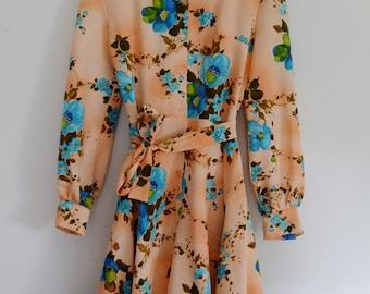 Vintage 1970's Handmade Floral Dress