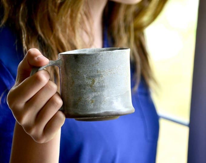 Organic wabi sabi mug speckled white handmade pottery