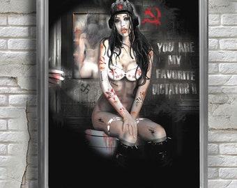 Art print, Fine Art Printing,You are my   favorite dictator,Erotic,Poster,Fetish,Punk rock.