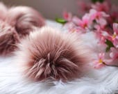 Blush Pink Faux Fur Pom Pom Valentines Day Large 5in for Hat Topper Knit Hat Scarf Keychain Red White Brown Grey Faux Fur Pom Pom