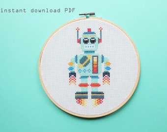 Spacebot- Instant download Pattern - beginners cross stitch pattern