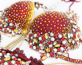 Red Gold Bikini Diva Competition Suit (DV016)