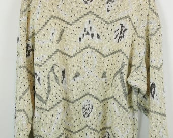 Vintage Sweater, Vintage Knit Pullover, 80s, 90s, pastel yellow, oversized look