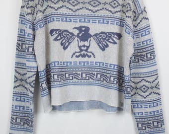 Vintage Sweater, Vintage Knit Pullover, 80s, 90s, white and blue, pattern, eagle, oversized look