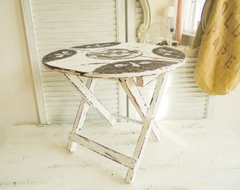 Side table coffee table folding table Shabby Chic folding table oval