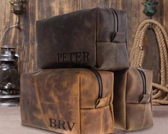 VALENTINES SALE 50% OFF Dopp Kit Bag Groomsmen Gift Leather Toiletry Bag with Monogram Mens Toiletry Bag Leather Custom Dopp Kit By Barva