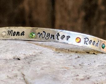Silver birthstone bracelet, Name bracelet, Birthstone jewelry, Silver bracelet, Birthstone gift for mom, Gift, Birthstone bangle
