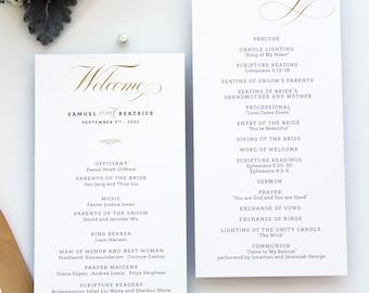 Harmony Gold Wedding Program, Calligraphy Wedding Program, Wedding Program Template or Printed Programs, Double Sided