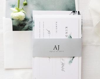 Joselyn Watercolour Wedding Invitation Set, Invitation Kit, Elegant Wedding, Belly Bands Invitations Wedding Stationery Printable or Printed