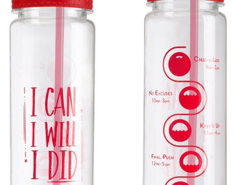 I CAN, I WILL, I DID Aquamotiv Motivational Quote   30oz Straw Fitness Water Bottle with Time Tracker (Red)