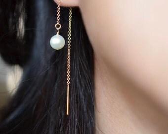 Freshwater Pearl Threader Earrings, Pearl Threader Earrings in 14k Gold Fill or Sterling Silver, Dangling Pearl Earrings, Wedding Earrings
