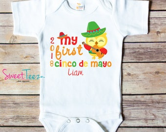 My First Cinco de Mayo Baby Bodysuit Personalized Shirt Owl Sombrero Boy Girl Personalized Shirt