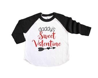 Daddy's Sweet Valentine Shirt - Kids Valentine Shirt - Valentines Day Shirt - Valentine Raglan - Love Shirt - Toddler Valentines Shirt