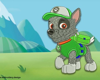 Cute dog Rocky from Paw patrol embroidery design - downloadable - 3 sizes
