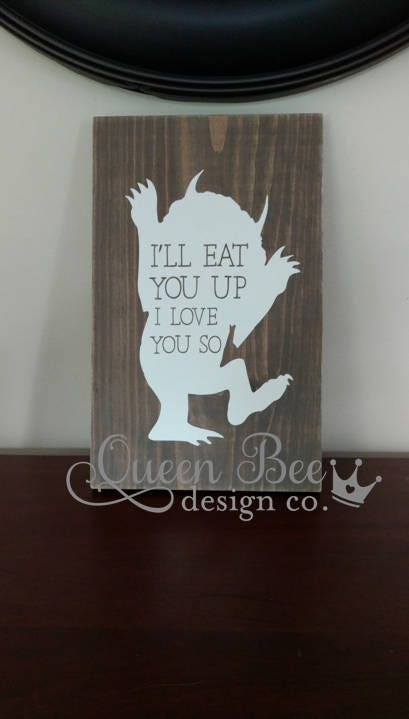 Where The Wild Things Are Wood Sign.Wall Art for Nursery.Kids Room ...
