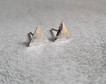 Triangle Studs - Hammered Silver Studs - Hammered Silver Earrings - Hammered Silver Triangle Studs - Silver Studs - Small Studs