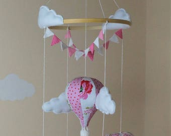 Cath Kidston Hot air balloon baby mobile with bunting pink READY TO SHIP