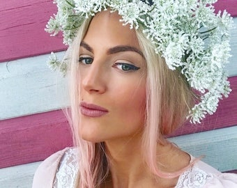White Blossom Rustic Garland Crown Hair Head Band