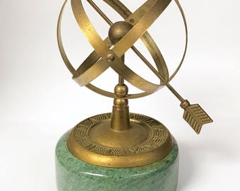 Vintage Armillary Globe Sundial With Arrow On Green Marble Base
