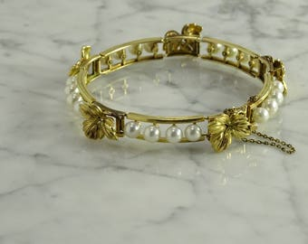 Antique Mikimoto Pearl and 14K Yellow Gold Bracelet
