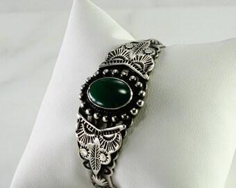 Native American Green Stone Sterling Cuff Bracelet