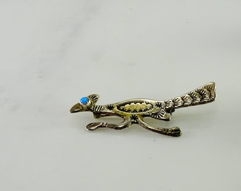 Old Mexico Turquoise Sterling Road Runner Pin