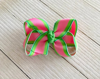 Small Twisted Boutique Hair Bow - Summer Spring Hair Bow - Stripes Hair Bow - Girl Toddler Hair Bow