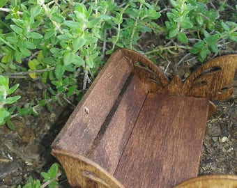 Minature Wood Butterfly Bench, Fairy Bench, Dollhouse Bench,Fairy Wood Bench