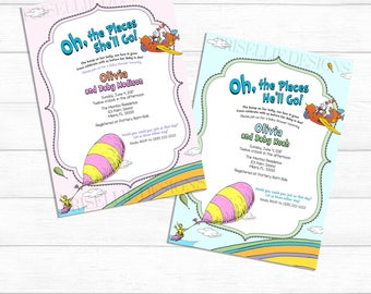 Dr. Seuss Baby Shower Invitation, Oh the Places You'll Go Baby Shower Invitation, Dr Seuss Boy Girl Baby Shower Invitation, Storybook Shower