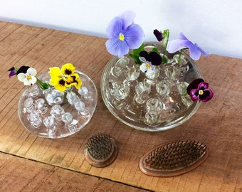 Set of Four Vintage Flower Frogs//Glass Flower Frogs//Copper and Brass Flower Frogs