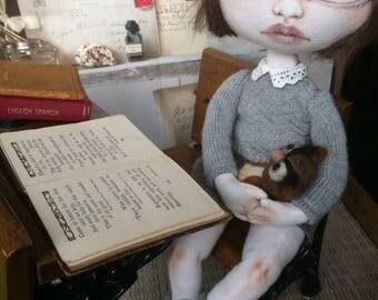 Handmade cloth art doll OOAK schoolgirl Rain
