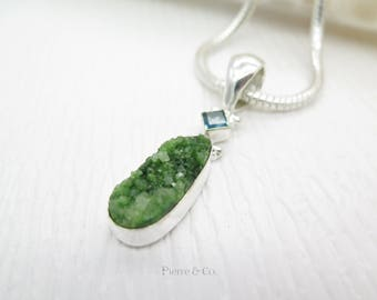 Green Agate Drusy and Blue Topaz Sterling Silver Pendant and Chain