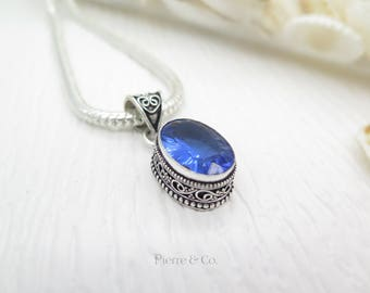 Filigree Setting Blue Topaz Sterling Silver Pendant and Chain