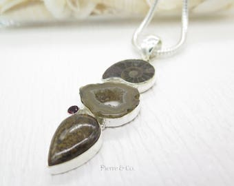 Ammonite Fossil Agate Drusy and Bronzite Sterling Silver Pendant and Chain
