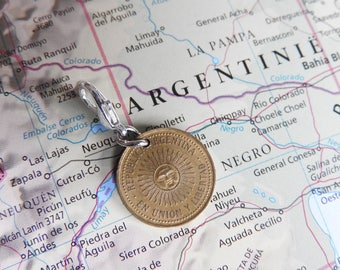 Argentina original coin charm - 3 different designs - made of coins from Argentina - South America - sun