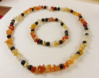 "Amber Bracelet with Black Lava Rock - ""Earthen Glow"""