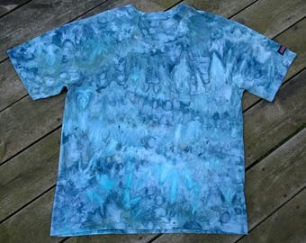 Hand Dyed T- Shirt - Unisex Size Large - Blue - Ocean Voyage - Tie Dye