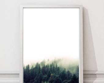 Forest Photography Print, Forest in the fog Art Print, Nature Wall Art, Trees in the fog