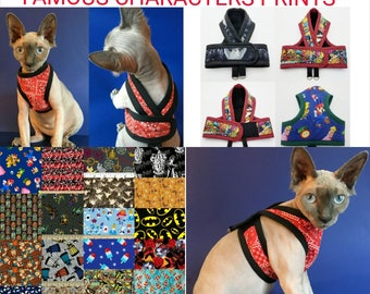 1 FAMOUS CHARACTER Premium Cat HARNESS Your Choice / Walking Butterfly Vest /Ultra Light/ Comfortable Sphynx Cat Clothes and all breeds