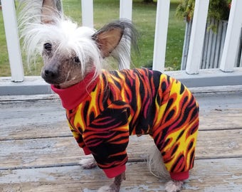 FLAMES FLEECE Dog PAJAMAS Your Choice of color for Cuffs and Collar Onesie by ComfyStyles Dog Jumper PJs Pyjamas